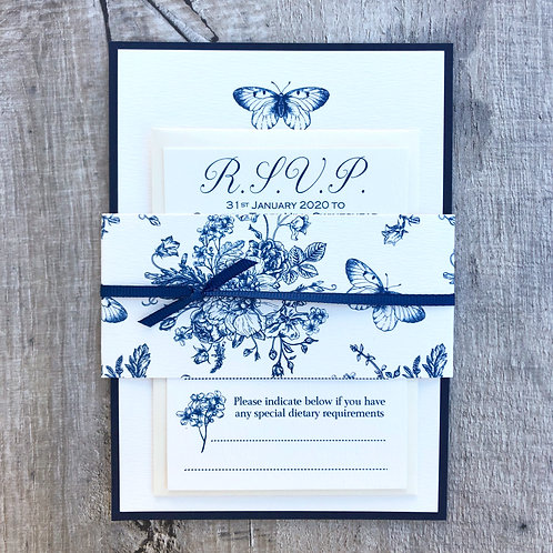 Navy Butterfly Wedding Invites