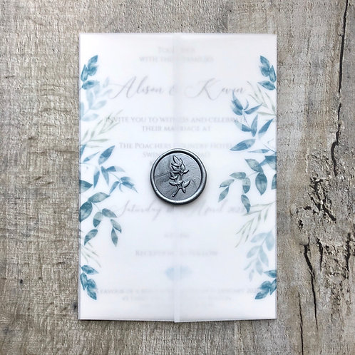 blue vellum wedding invitation