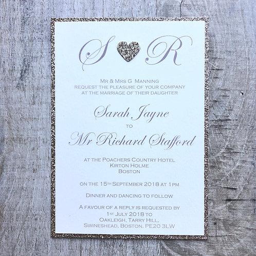 Glitter wedding invites