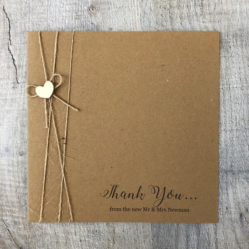 Rustic Wood heart thank you card