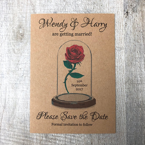 Vintage Beauty & the Beast Save the Date