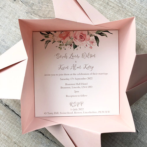 Pink origami wedding invitation