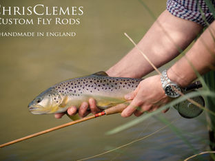 Classic bamboo fly rod and brown trout