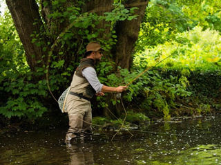 Chris Clemes roll casting a split cane fly rod
