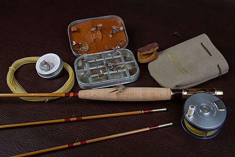 Cane fly rod silk line and reel.jpg