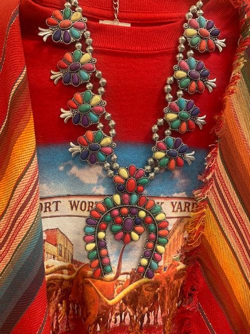 Kaleidoscopic Squash Blossom Necklace