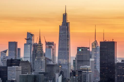 Aerial view of Midtown Manhattan at sunset