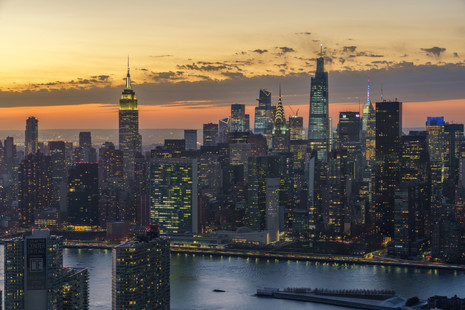 Aerial view of Midtown Manhattan at Twilight
