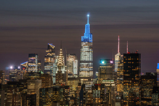 Aerial View of Midtown NYC at Twilight