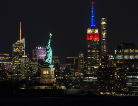 Statue of Liberty and the ESB in American colors