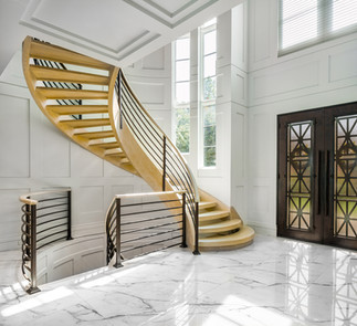Curved Staircase in Foyer Architecture Interior  New York Photography
