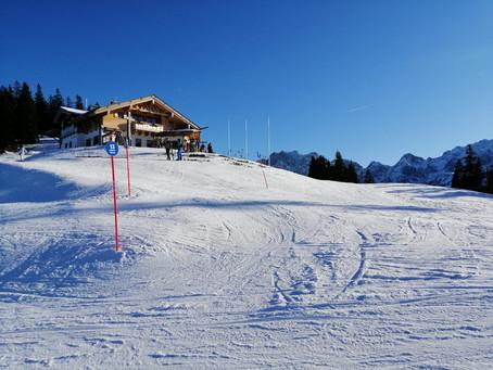 Gute Bedingungen auf den Pisten bei Garmisch und traumhaftes Wetter zum Auftakt in das neue Jahr