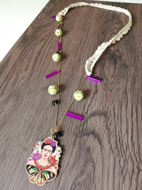 Frida kahlo necklace (purple)