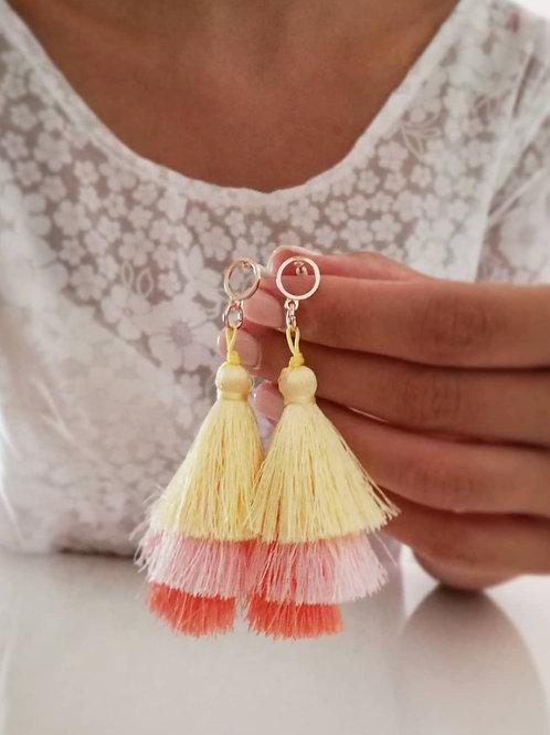 Rainbow tassels earrings