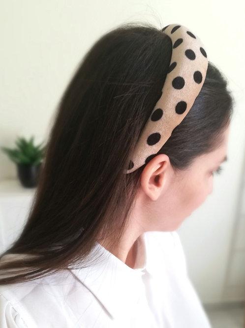 Polka dots headband - beige