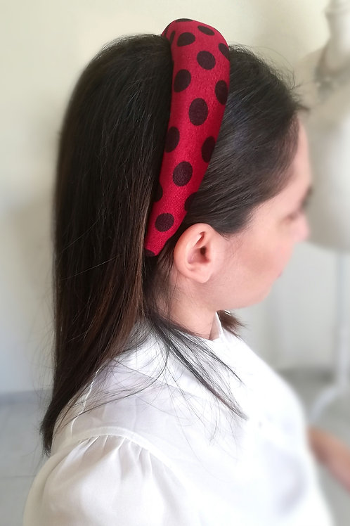 Polka dots headband - red