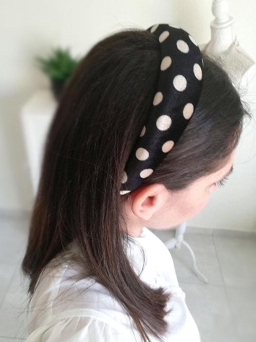 Polka dots headband - black