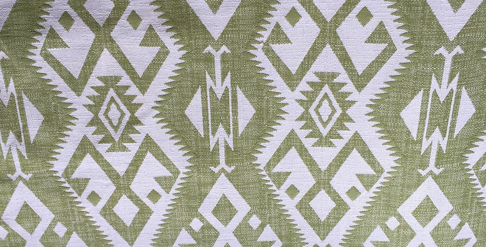 Green Tribal - Ikat - Green And White
