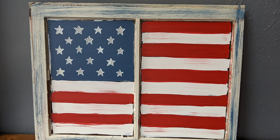 Antique Window - American Flag