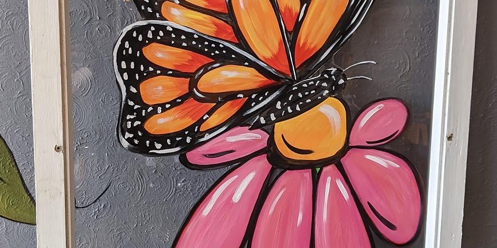 Antique Window - Butterfly on Flower