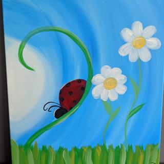 Canvas - Lady Bug & Flower