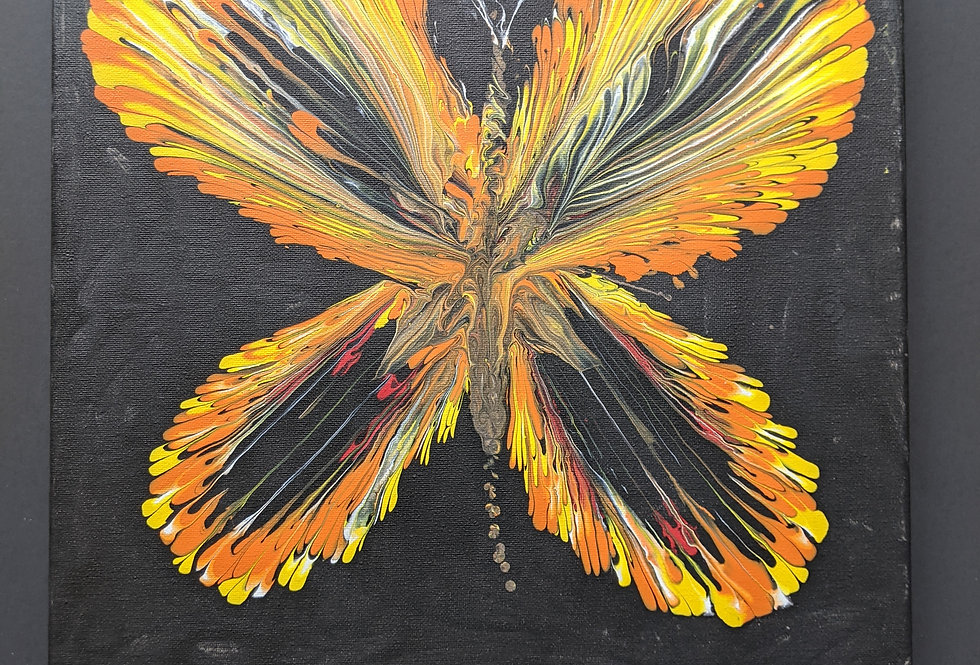 Paint Pour Chain Pull Butterfly 14x14 Canvas