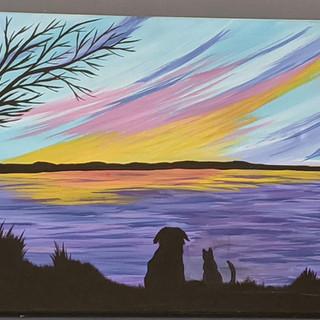 Canvas - Pets watching Sunset