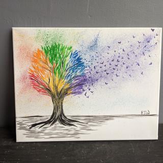 Canvas - Rainbow Splatter Tree
