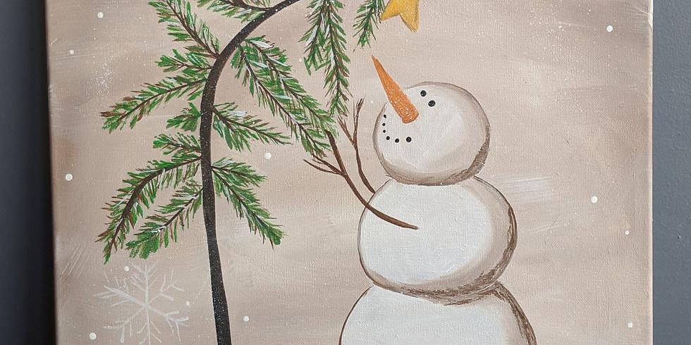 Snowman Christmas 16x20 Canvas