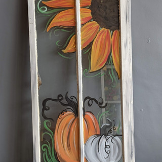 Antique Window - Fall Sunflower with Pum