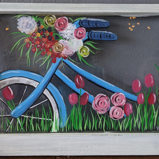 Antique Window - Bicylce with Flowers.PN