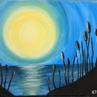 Canvas - Moon and Cattails