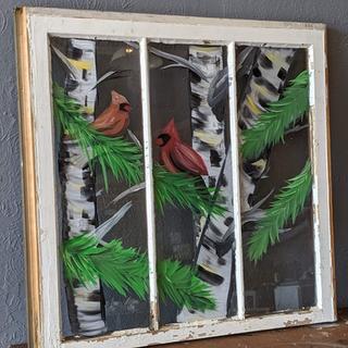 Antique Window - Cardinals Birch Tree 3.