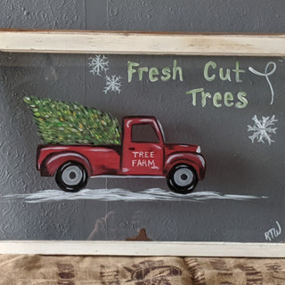 Antique Window - Pickup with Christmas t