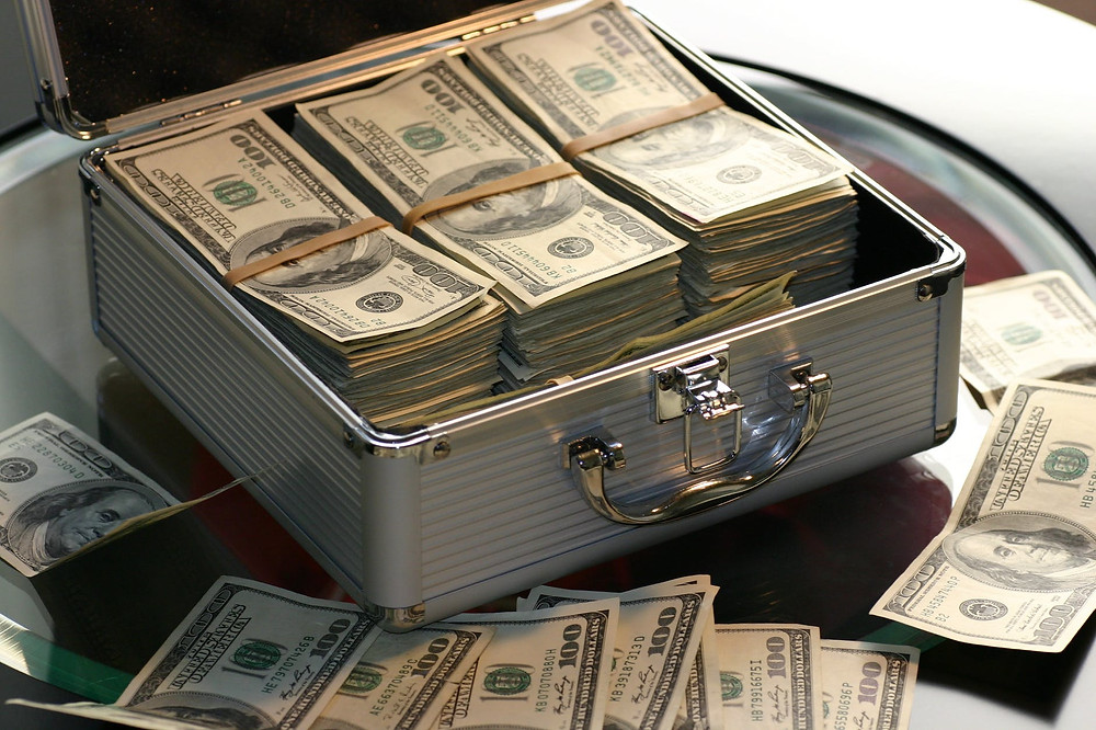money in a suitcase