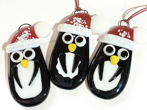 Fused Glass Penguin Hanging Decoration