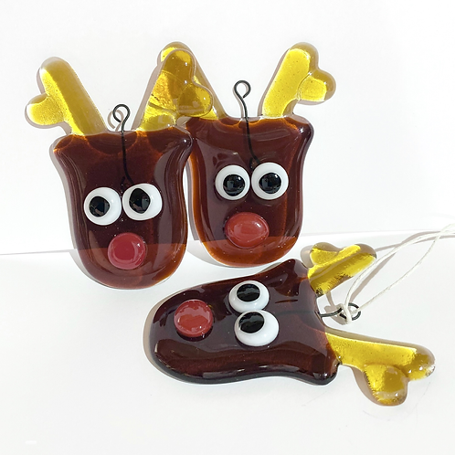 Fused Glass Rudolph Hanging Decoration