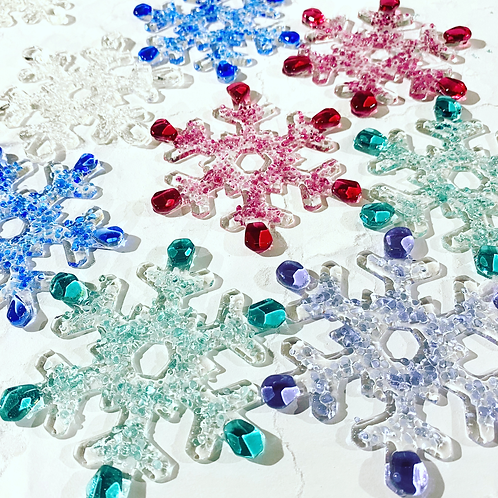 Fused Glass Snowflake Hanging Decoration