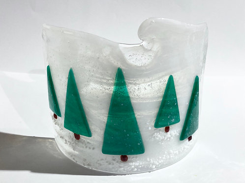 Snowy Christmas Trees Candle Arc