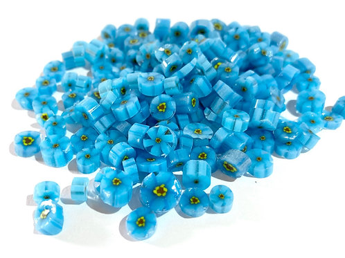 CoE 90 Bright Blue-Forget-Me-Not (with yellow) Glass Murrini