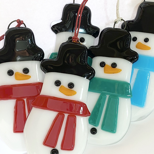 Fused Glass Snowman Hanging Decoration
