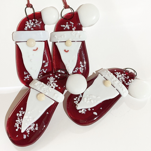 Tomte Inspired Fused Glass Santa Hanging Decoration