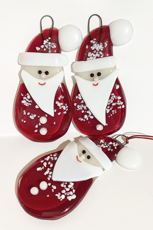 Father Christmas Fused Glass Hanging Decoration