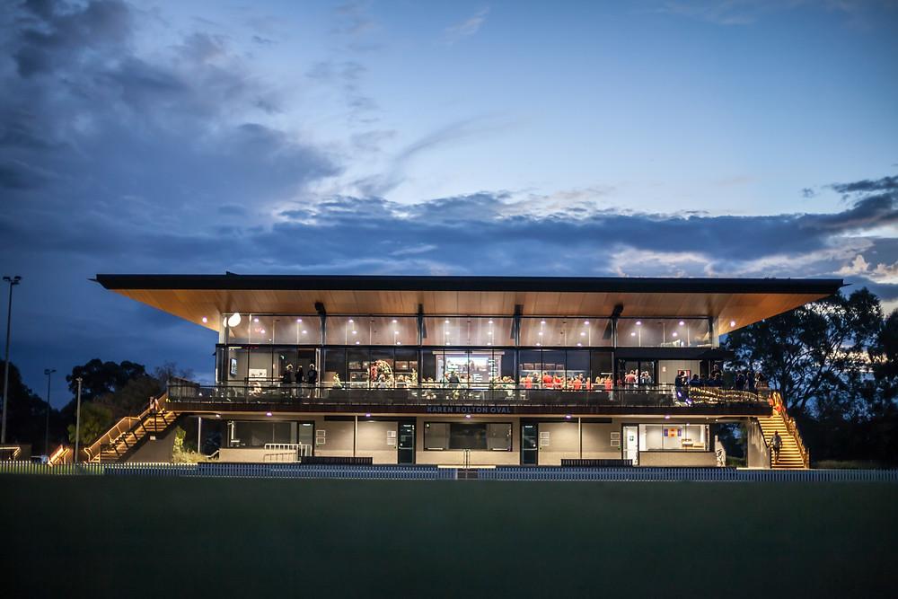 Karen Rolton Oval Pavilion at night