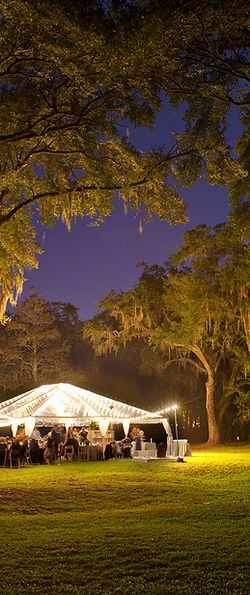 A night-time wedding using a clear top tent rental along with stringer light rentals and furniture rentals.