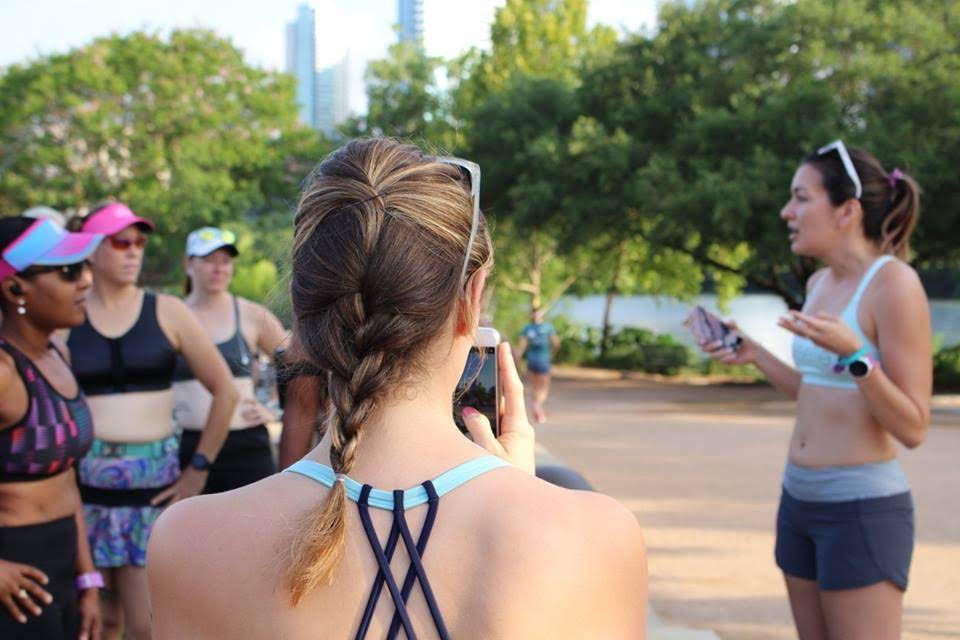 Run Group Training with Sports Bra Squad promoting body positivy