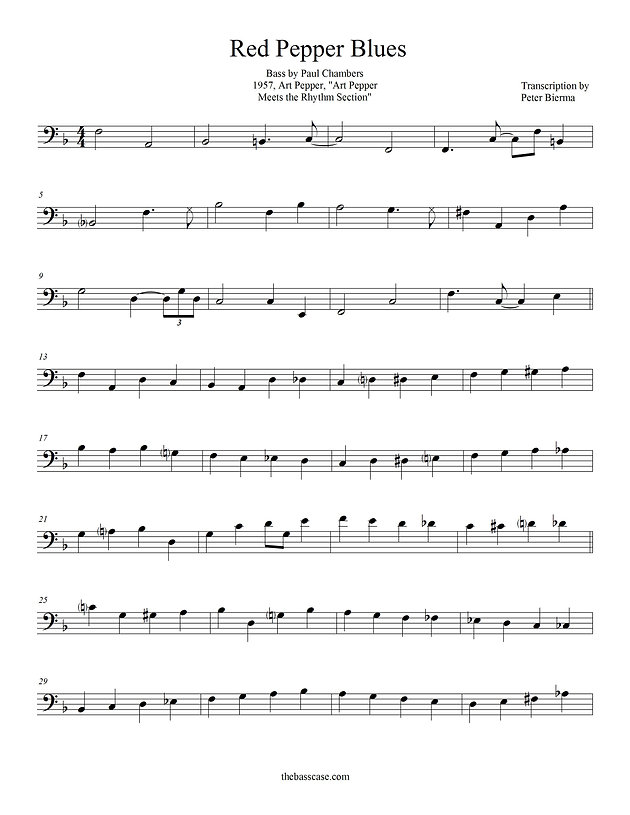NEW TRANSCRIPTION: Paul Chambers - Red Pepper Blues