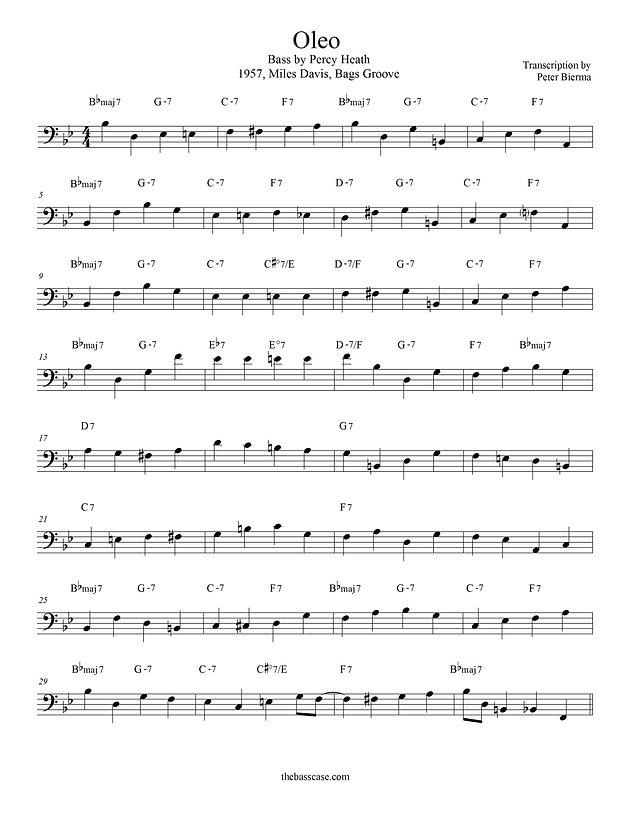 """Bass Transcription: Percy Heath - """"Oleo"""""""