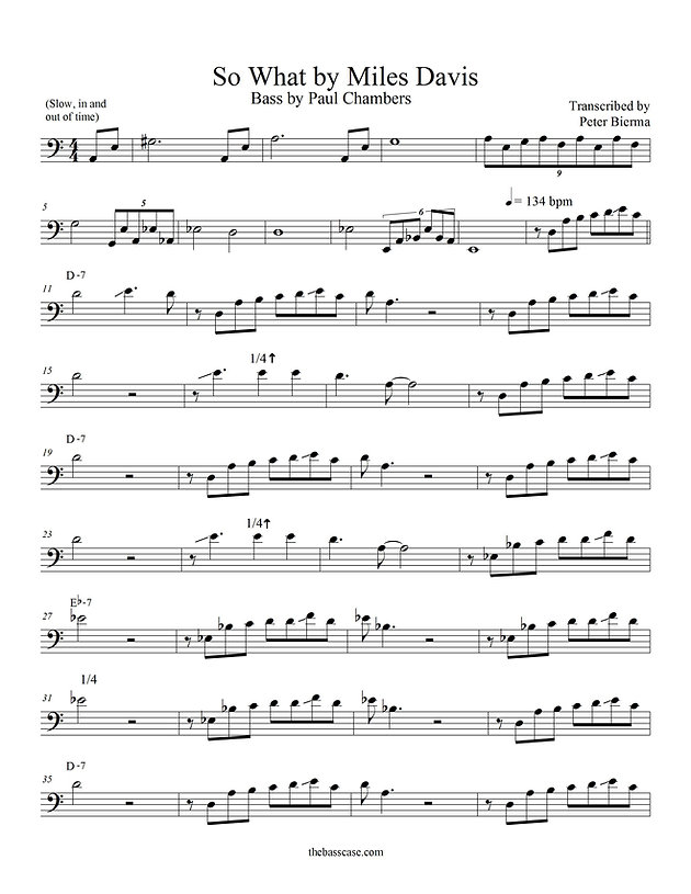 """Bass Transcription: Paul Chambers - """"So What"""""""