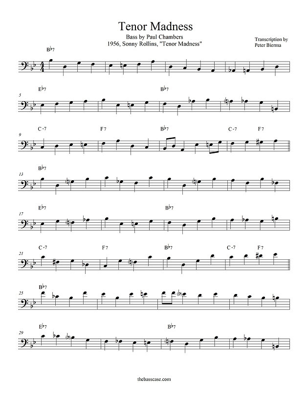 NEW TRANSCRIPTION: Tenor Madness, 15 Pages, Paul Chambers